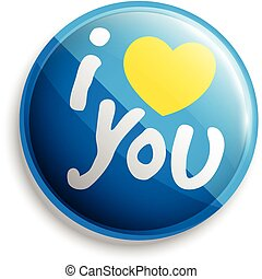 I love u button. Vector illustration. Can use for printing...