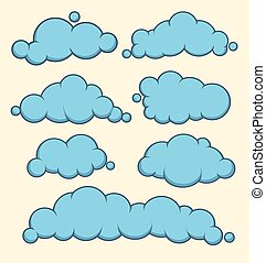 Clouds blue vector set.