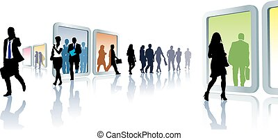 Virtual travel - Crowd of people in virtual travel, from...