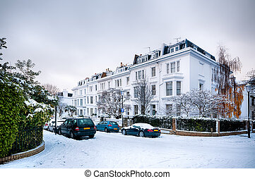 Winter Street, London - England - Snow coverd street in...