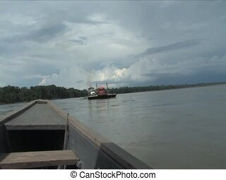 barge - Passing a barge on the Napo River, Amazon