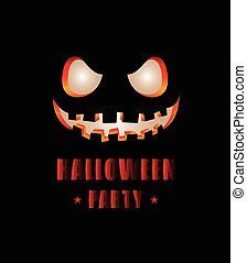 Happy Halloween party text design with face pumpkin on black...