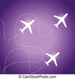 fly routes and airplanes. illustration design over a purple...