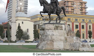 Scander bey Monument in Tirana - TIRANA, ALBANIA - OCTOBER...