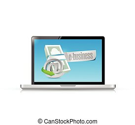 online business computer concept illustration design over a...