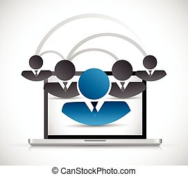 people computer network connection illustration design over...