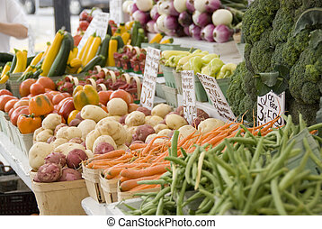 Farmers market vegetable stand - Vegetable stand at the...