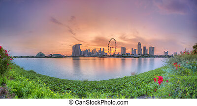 Singapore Skyline at sunset - Panorama view of Singapore...