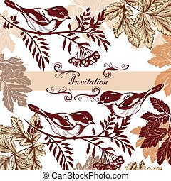 Beautiful invitation card with bird - Hand drawn background...