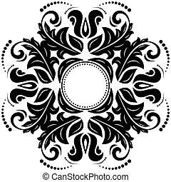 Orient ornamental round lace with damask and arabesque...