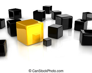 yellow cube - A yellow cube placed observably in a group of...