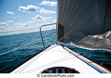 Catch the wind - Sailing on sunny day on lake Michigan