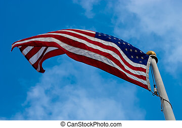 American flag on windy day