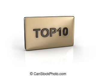 text TOP10 - 3D text TOP10 on reflective rectangle