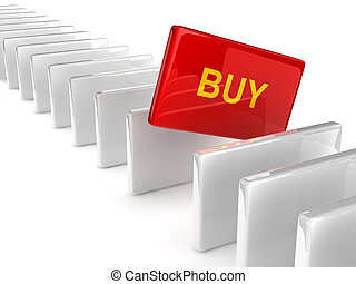 text BUY on red rectangle placed observably in a group of...