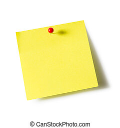 Note pad and push pin - Yellow paper note pad attached with...