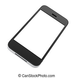 phone with blank screen isolated on white background.