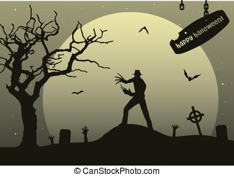 man with claws on upland on halloween with moon background