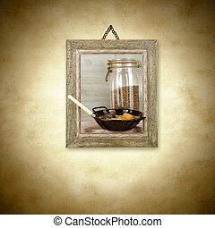 Braised lentils,photo hanging on the wal