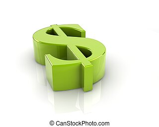 dollar sign - green reflective dollar sign isolated with...
