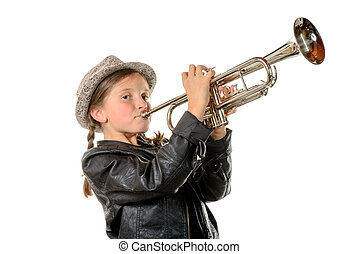 a pretty little girl with a black jacket plays the trumpet -...