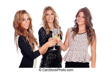 Group of friends toasting with champagne in Christmas -...