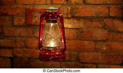 lantern bat swinging in the wind - Kerosene lamp swinging in...