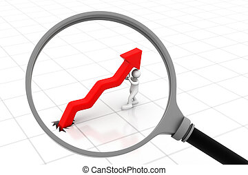 Successful business arrow graph with magnifying glass