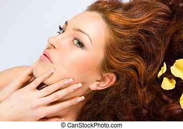 Close-up of fresh face - Close-up beautiful red-haired lady...