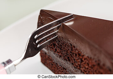 Chocolate cake on white dish and background