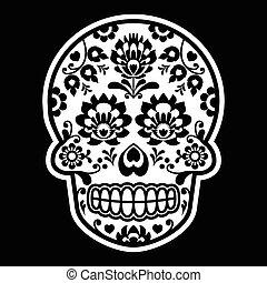 Mexican sugar skull - Polish folk - Dia de los Muertos black...