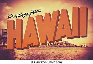 Retro Greetings From Hawaii Postcard - Retro Style Vintage...