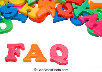 FAQ - Magnetic letters spelling out the word FAQ.