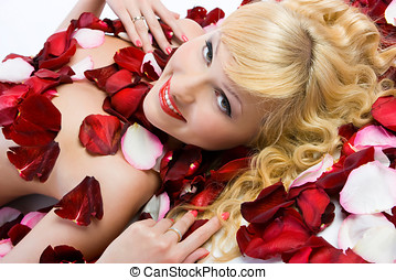 Lady in roses - Close-up beautiful fresh young blonde...
