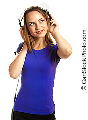 young woman listening music - happy young woman listening...