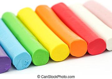 colorido, barra, Plasticine, arreglar, en, blanco, Plano de...