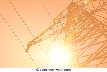 Electrical Transmission Line of High Voltage Over Desert...