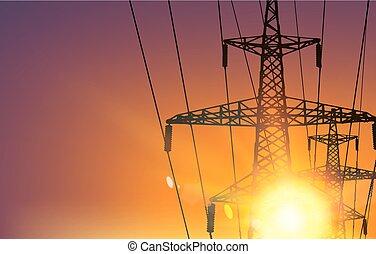 Electrical Transmission Line of High Voltage Over Sunrise....