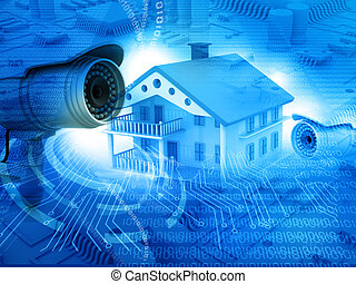 House with security camera, house protection, CCTV