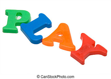 Play - Magnitic letters spelling out the word play.