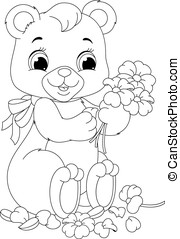 Bear coloring page - Cute bear petals from flowers...