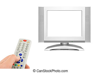 Hand with remote control and tv