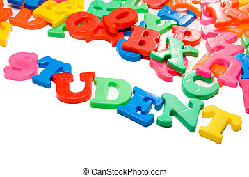 Student - Magnetic letters spelling out the word Student.