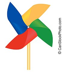 propeller with multicolored petals on white background