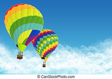 bonito, quentes, ar, balões, contra, Um, profundo,...
