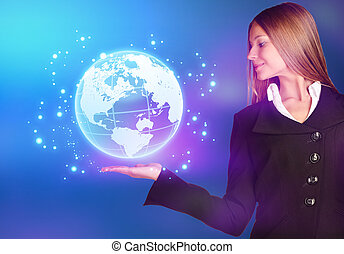 woman showing holding on world map globe. - woman showing...