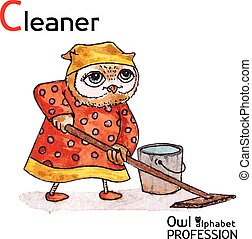 Alphabet professions Owl Letter C - Cleaner Vector...