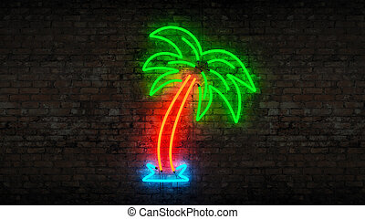 neon palm tree - Design made in 3D