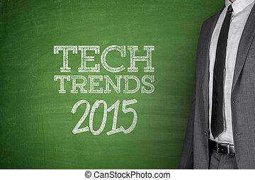 Tech Trends 2015 concept on blackboard - Tech Trends 2015...