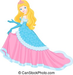 Princess - Golden-haired princess in a beautiful dress shows...
